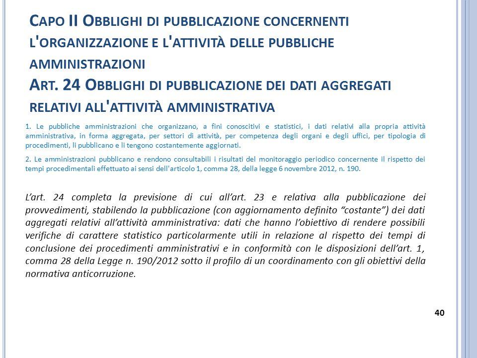 C APO II O BBLIGHI DI PUBBLICAZIONE CONCERNENTI L ' ORGANIZZAZIONE E L ' ATTIVITÀ DELLE PUBBLICHE AMMINISTRAZIONI A RT. 24 O BBLIGHI DI PUBBLICAZIONE