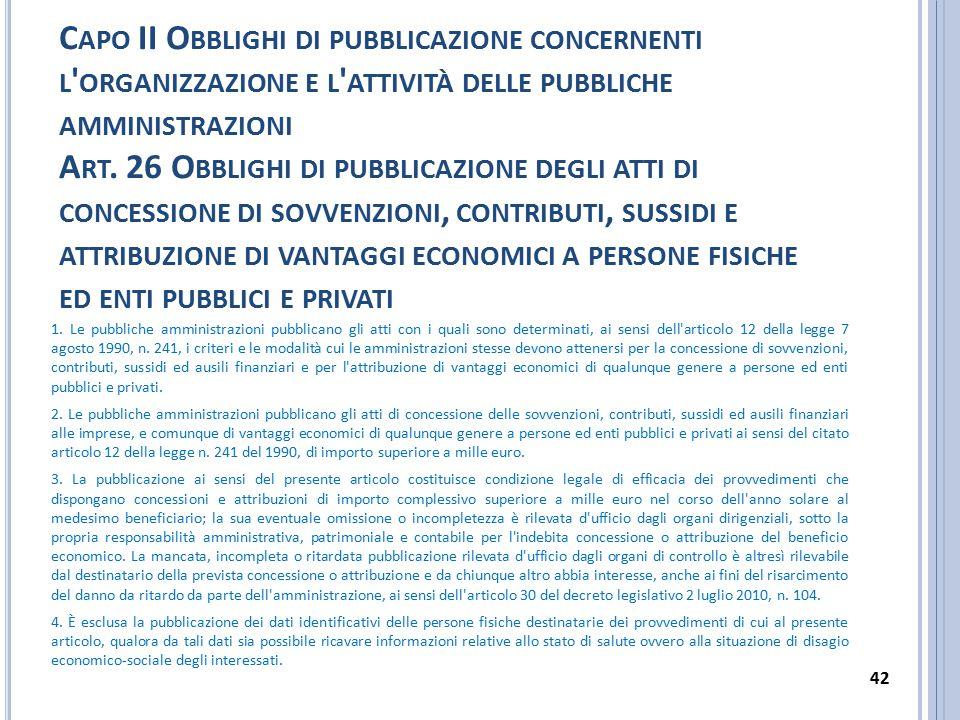 C APO II O BBLIGHI DI PUBBLICAZIONE CONCERNENTI L ' ORGANIZZAZIONE E L ' ATTIVITÀ DELLE PUBBLICHE AMMINISTRAZIONI A RT. 26 O BBLIGHI DI PUBBLICAZIONE