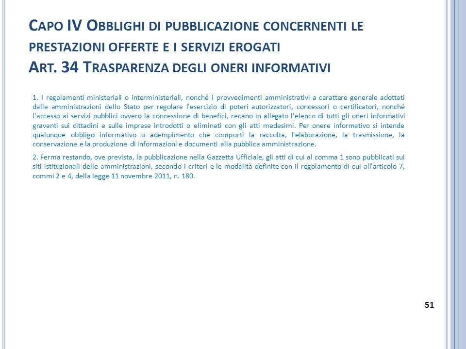C APO IV O BBLIGHI DI PUBBLICAZIONE CONCERNENTI LE PRESTAZIONI OFFERTE E I SERVIZI EROGATI A RT. 34 T RASPARENZA DEGLI ONERI INFORMATIVI 1. I regolame