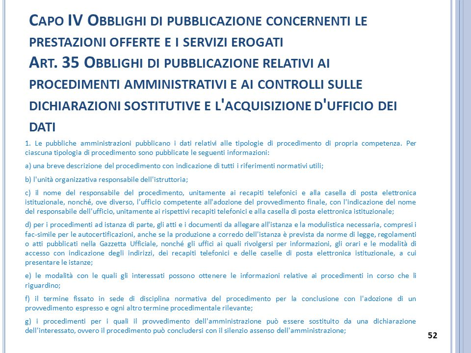 C APO IV O BBLIGHI DI PUBBLICAZIONE CONCERNENTI LE PRESTAZIONI OFFERTE E I SERVIZI EROGATI A RT. 35 O BBLIGHI DI PUBBLICAZIONE RELATIVI AI PROCEDIMENT