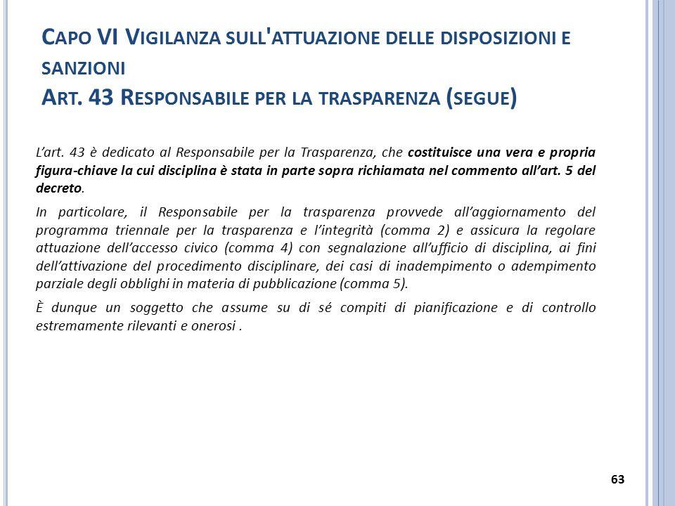 C APO VI V IGILANZA SULL ' ATTUAZIONE DELLE DISPOSIZIONI E SANZIONI A RT. 43 R ESPONSABILE PER LA TRASPARENZA ( SEGUE ) L'art. 43 è dedicato al Respon