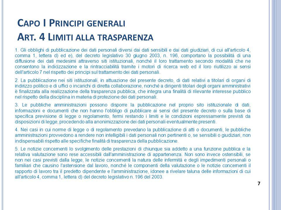 C APO I P RINCIPI GENERALI A RT.4 L IMITI ALLA TRASPARENZA (SEGUE) 6.