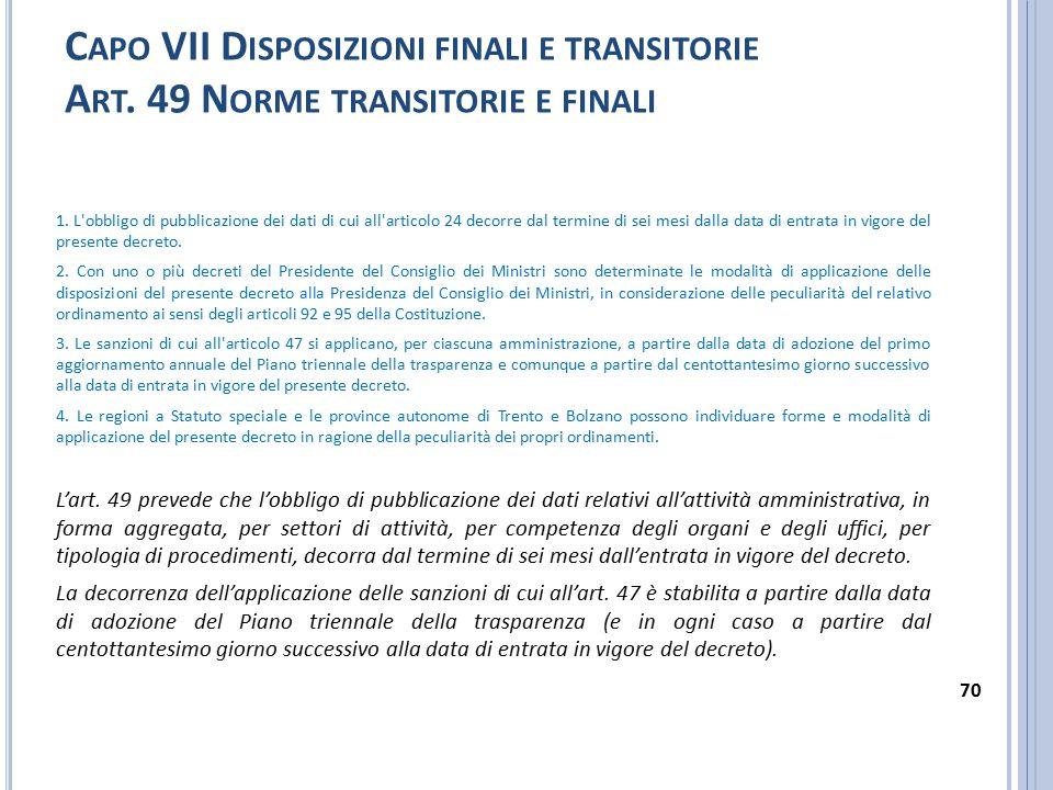 C APO VII D ISPOSIZIONI FINALI E TRANSITORIE A RT. 49 N ORME TRANSITORIE E FINALI 1. L'obbligo di pubblicazione dei dati di cui all'articolo 24 decorr
