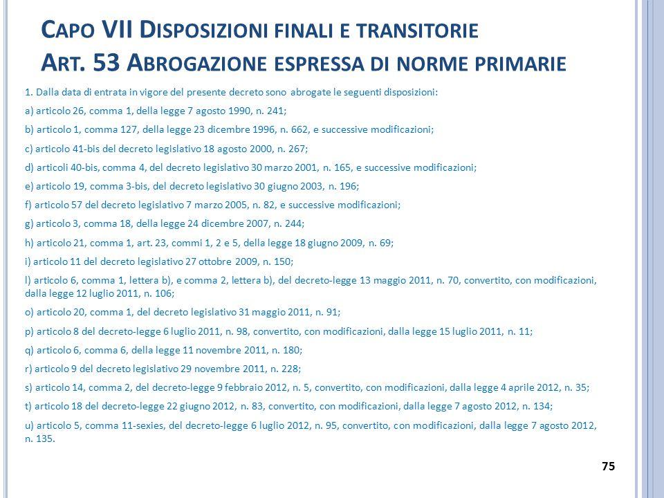 C APO VII D ISPOSIZIONI FINALI E TRANSITORIE A RT.