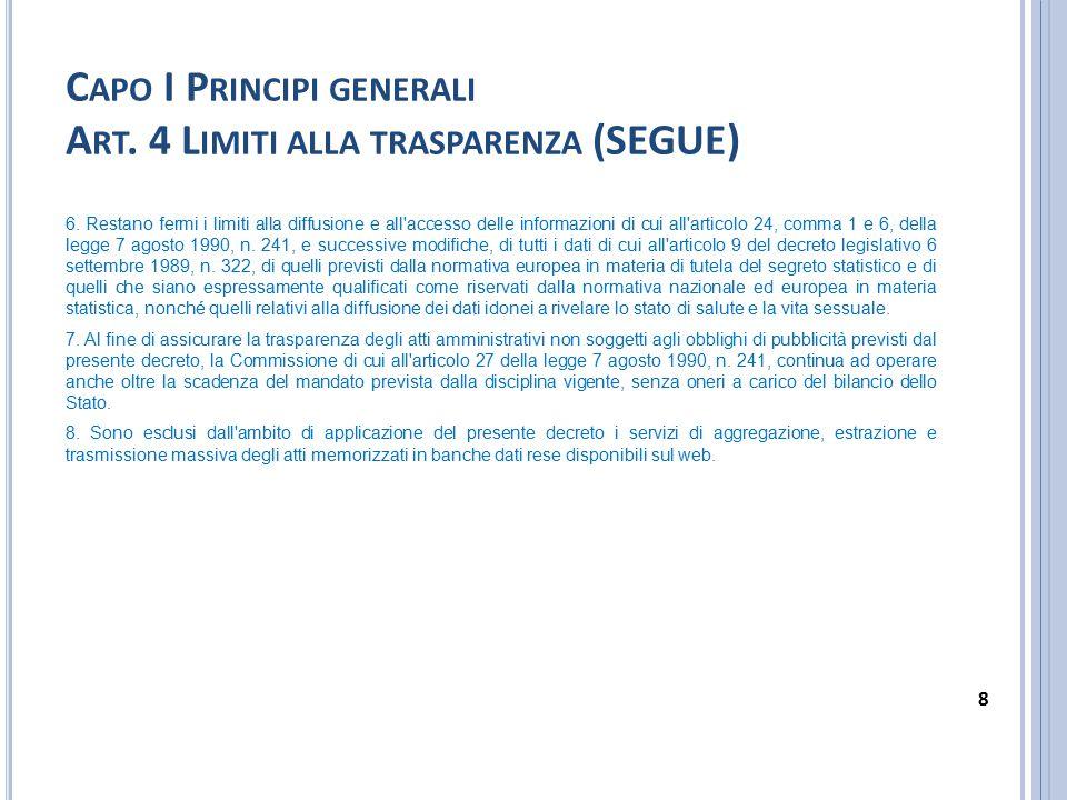 C APO I P RINCIPI GENERALI A RT. 4 L IMITI ALLA TRASPARENZA (SEGUE) 6. Restano fermi i limiti alla diffusione e all'accesso delle informazioni di cui