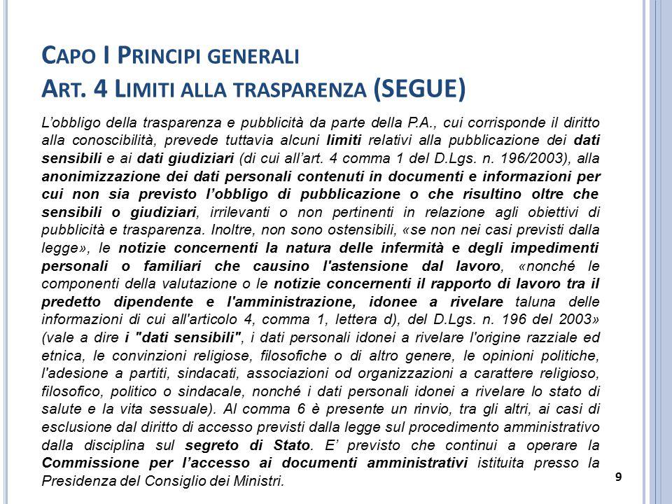 C APO I P RINCIPI GENERALI A RT. 4 L IMITI ALLA TRASPARENZA (SEGUE) L'obbligo della trasparenza e pubblicità da parte della P.A., cui corrisponde il d