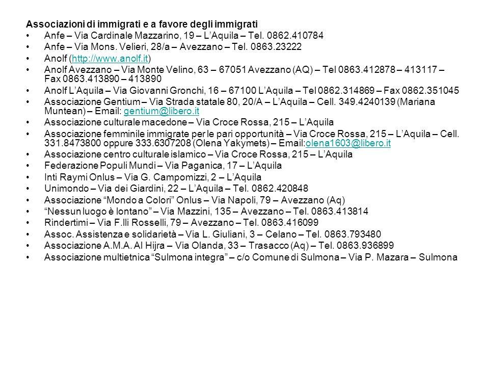 Associazioni di immigrati e a favore degli immigrati Anfe – Via Cardinale Mazzarino, 19 – L'Aquila – Tel. 0862.410784 Anfe – Via Mons. Velieri, 28/a –