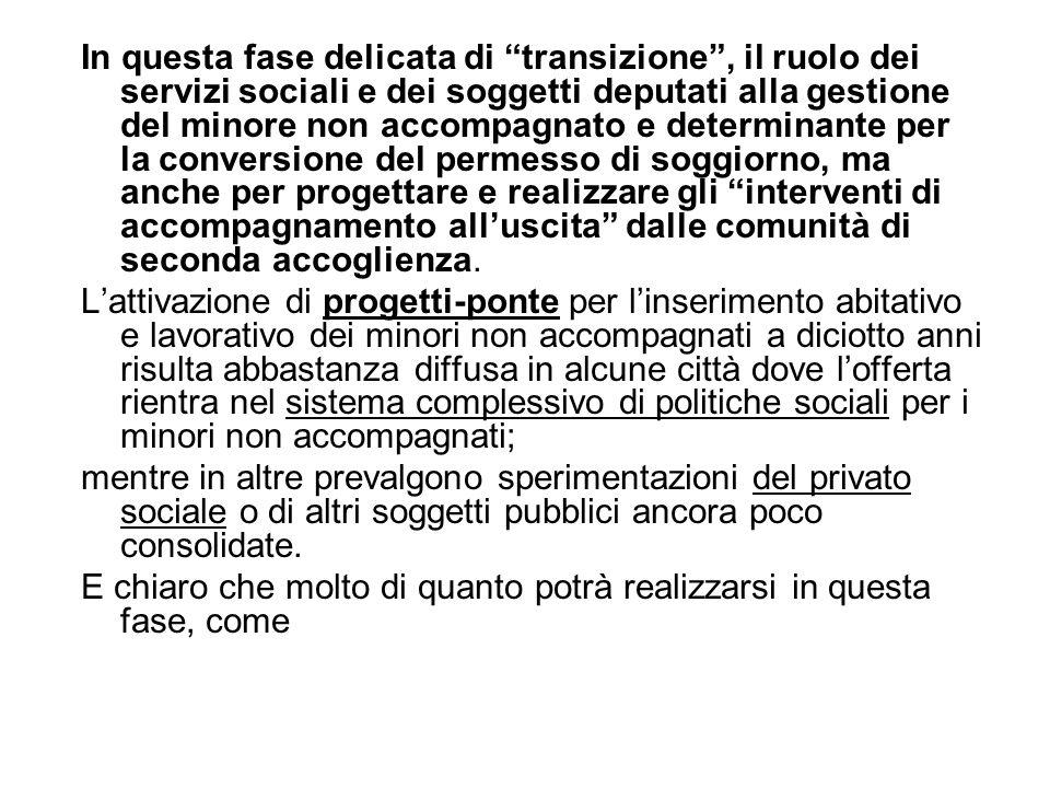 """In questa fase delicata di """"transizione"""", il ruolo dei servizi sociali e dei soggetti deputati alla gestione del minore non accompagnato e determinant"""