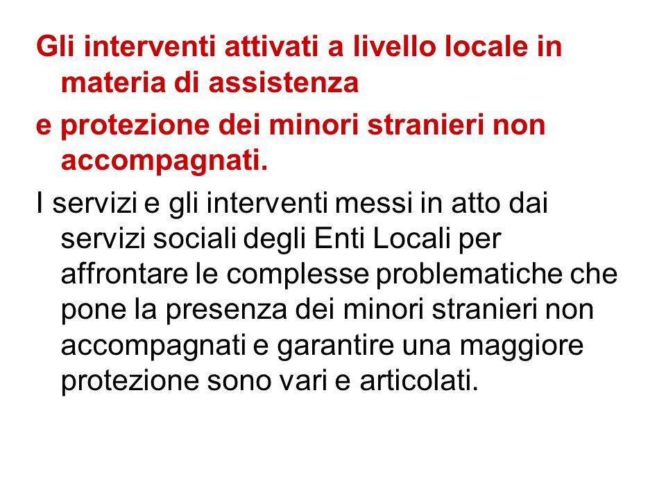 Gli interventi attivati a livello locale in materia di assistenza e protezione dei minori stranieri non accompagnati. I servizi e gli interventi messi