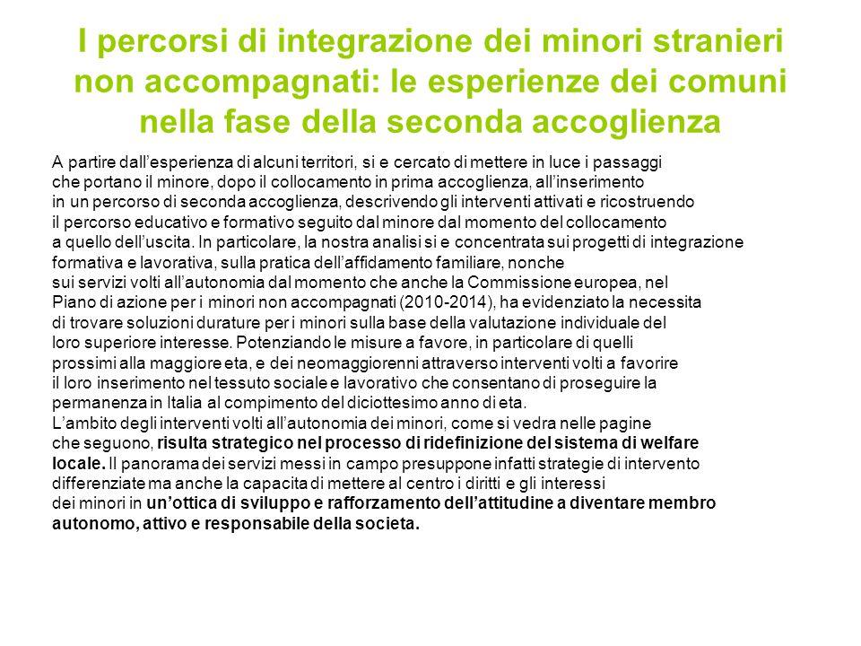 I percorsi di integrazione dei minori stranieri non accompagnati: le esperienze dei comuni nella fase della seconda accoglienza A partire dall'esperie