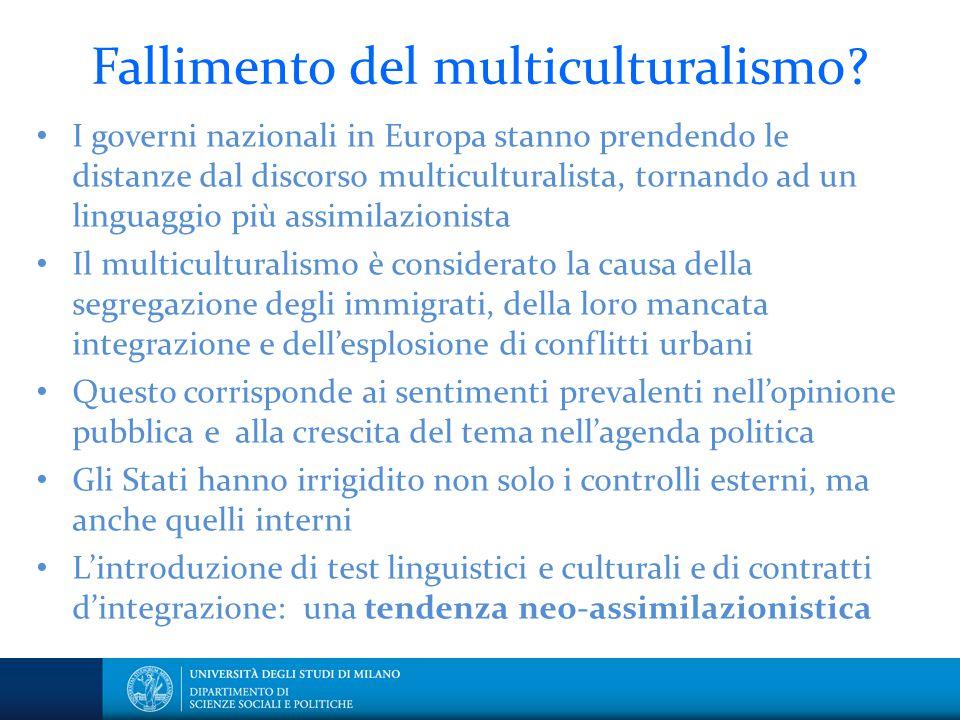Fallimento del multiculturalismo? I governi nazionali in Europa stanno prendendo le distanze dal discorso multiculturalista, tornando ad un linguaggio