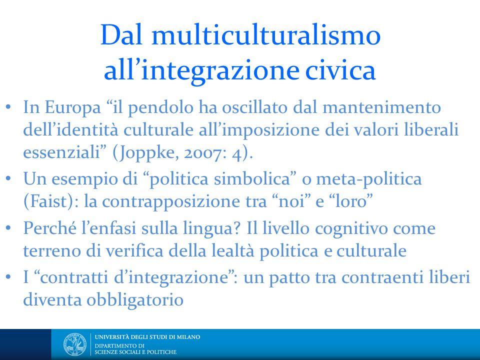 """Dal multiculturalismo all'integrazione civica In Europa """"il pendolo ha oscillato dal mantenimento dell'identità culturale all'imposizione dei valori l"""