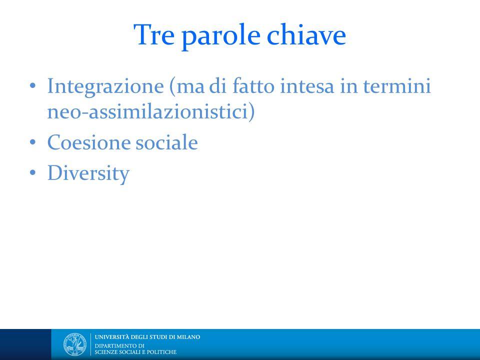 Tre parole chiave Integrazione (ma di fatto intesa in termini neo-assimilazionistici) Coesione sociale Diversity