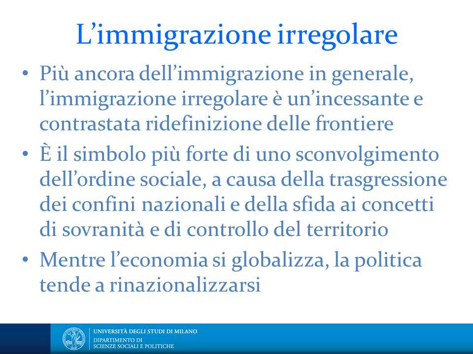 L'immigrazione irregolare Più ancora dell'immigrazione in generale, l'immigrazione irregolare è un'incessante e contrastata ridefinizione delle fronti