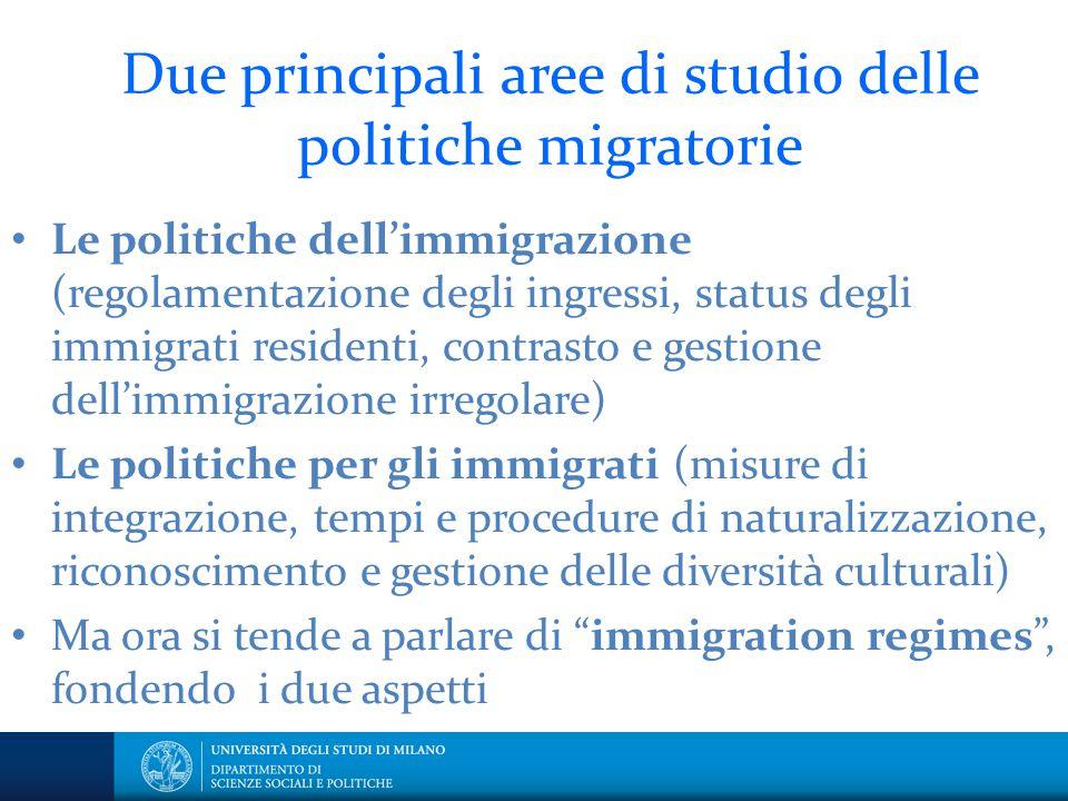 Due principali aree di studio delle politiche migratorie Le politiche dell'immigrazione (regolamentazione degli ingressi, status degli immigrati resid
