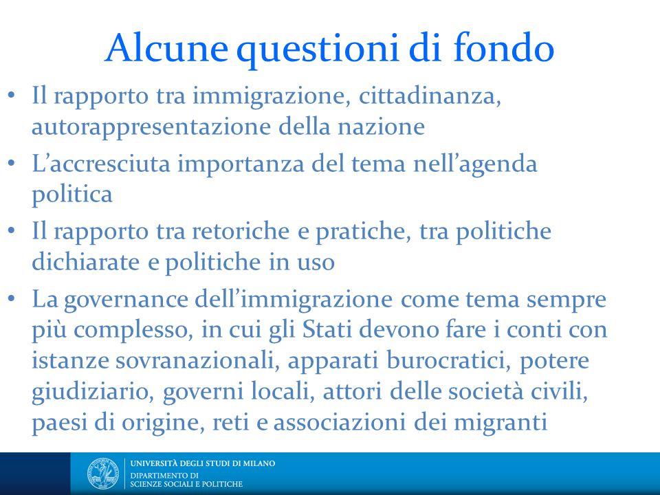 Alcune questioni di fondo Il rapporto tra immigrazione, cittadinanza, autorappresentazione della nazione L'accresciuta importanza del tema nell'agenda