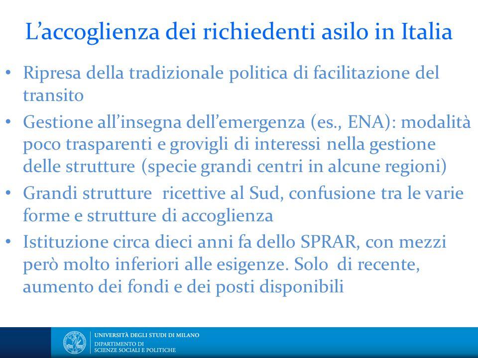 L'accoglienza dei richiedenti asilo in Italia Ripresa della tradizionale politica di facilitazione del transito Gestione all'insegna dell'emergenza (e