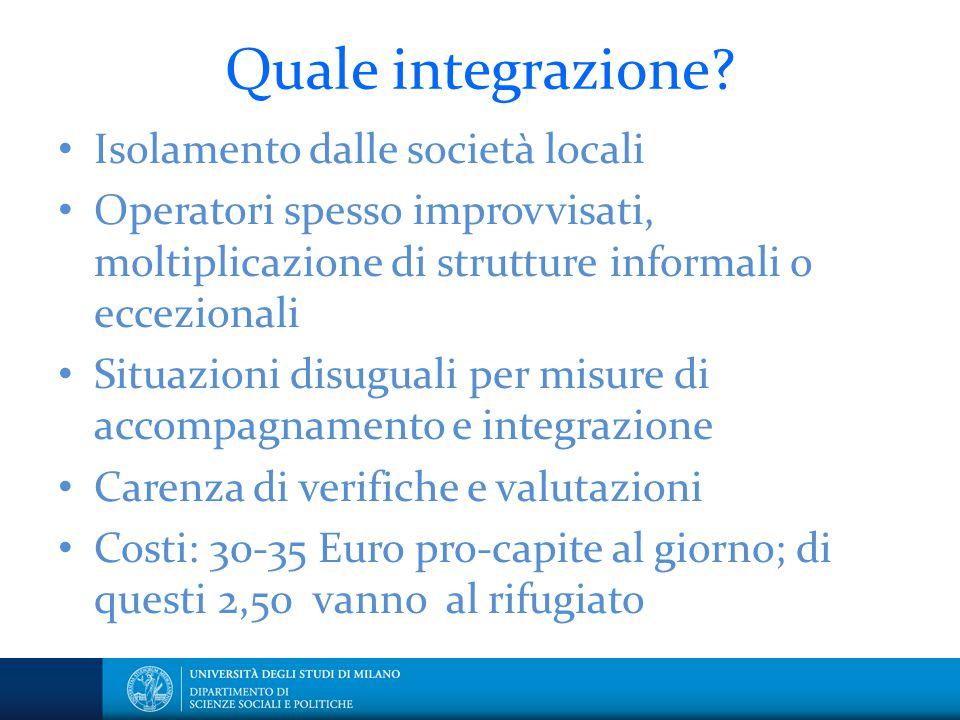 Quale integrazione? Isolamento dalle società locali Operatori spesso improvvisati, moltiplicazione di strutture informali o eccezionali Situazioni dis