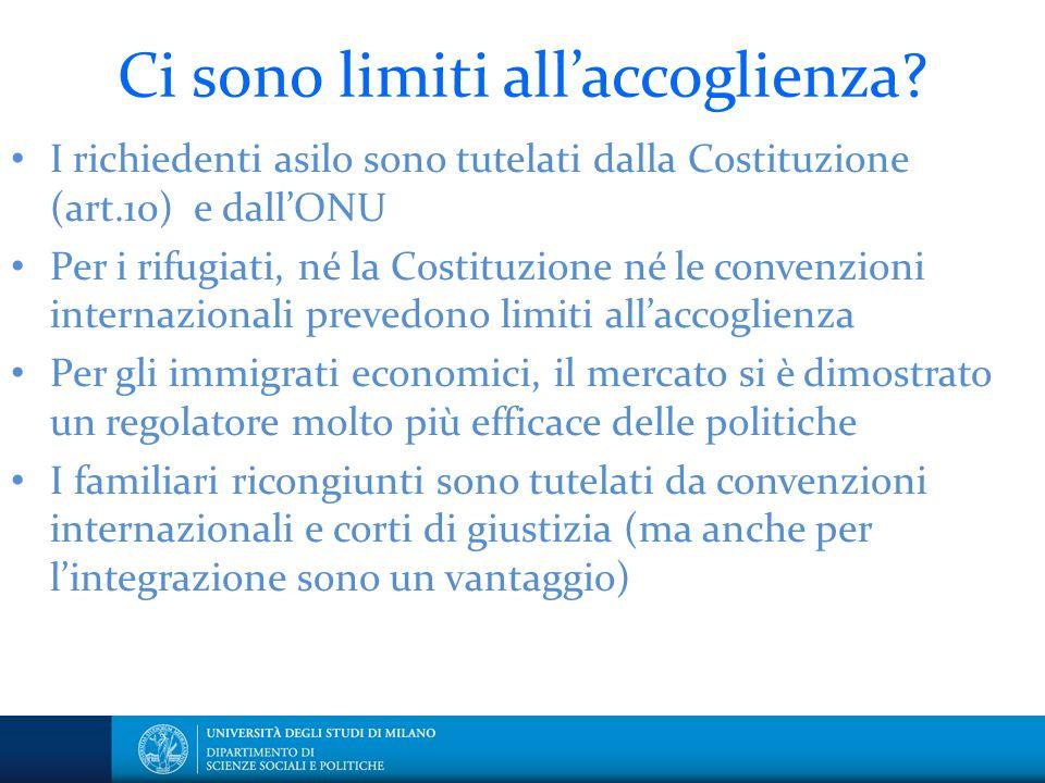 Ci sono limiti all'accoglienza? I richiedenti asilo sono tutelati dalla Costituzione (art.10) e dall'ONU Per i rifugiati, né la Costituzione né le con