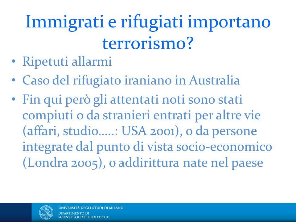 Immigrati e rifugiati importano terrorismo? Ripetuti allarmi Caso del rifugiato iraniano in Australia Fin qui però gli attentati noti sono stati compi