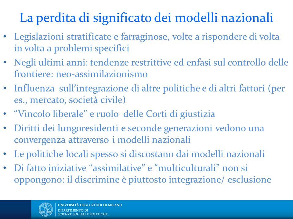 La perdita di significato dei modelli nazionali Legislazioni stratificate e farraginose, volte a rispondere di volta in volta a problemi specifici Neg
