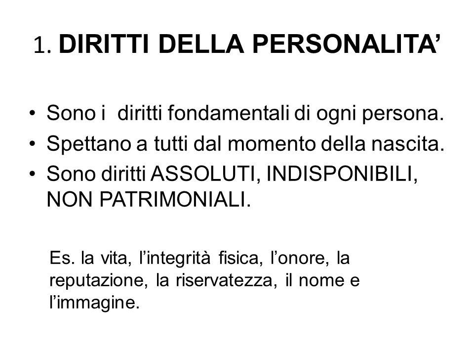1.DIRITTI DELLA PERSONALITA' Sono i diritti fondamentali di ogni persona.