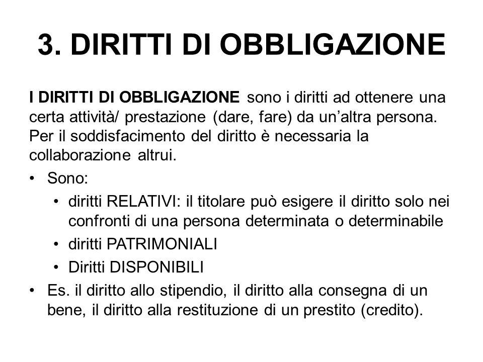 3. DIRITTI DI OBBLIGAZIONE I DIRITTI DI OBBLIGAZIONE sono i diritti ad ottenere una certa attività/ prestazione (dare, fare) da un'altra persona. Per