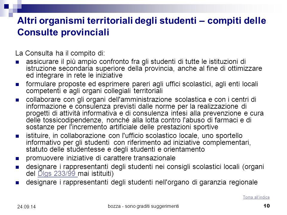 bozza - sono graditi suggerimenti10 24.09.14 Altri organismi territoriali degli studenti – compiti delle Consulte provinciali La Consulta ha il compit