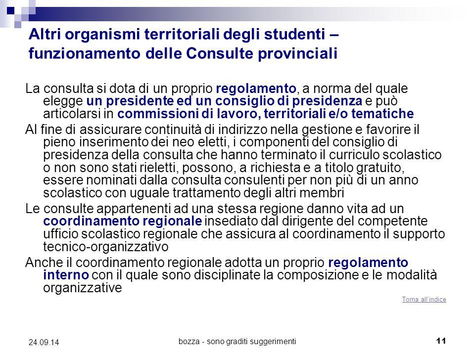bozza - sono graditi suggerimenti11 24.09.14 Altri organismi territoriali degli studenti – funzionamento delle Consulte provinciali La consulta si dot
