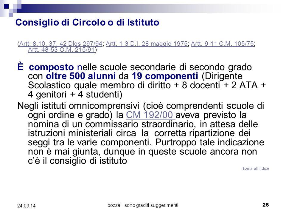bozza - sono graditi suggerimenti25 24.09.14 Consiglio di Circolo o di Istituto (Artt. 8,10, 37, 42 Dlgs 297/94; Artt. 1-3 D.I. 28 maggio 1975; Artt.