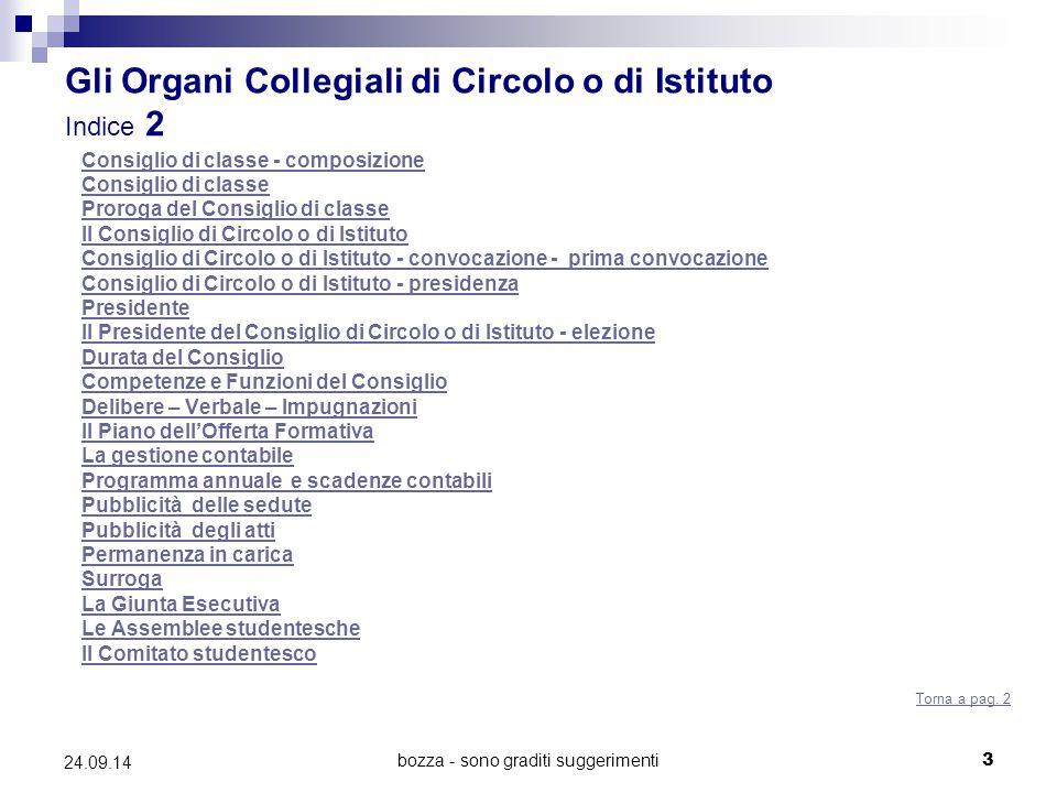 bozza - sono graditi suggerimenti3 24.09.14 Gli Organi Collegiali di Circolo o di Istituto Indice 2 Consiglio di classe - composizione Consiglio di cl