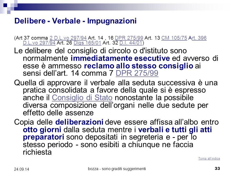 bozza - sono graditi suggerimenti33 24.09.14 Delibere - Verbale - Impugnazioni (Art 37 comma 2 D.L.vo 297/94 Art. 14, 16 DPR 275/99 Art. 13 CM 105/75