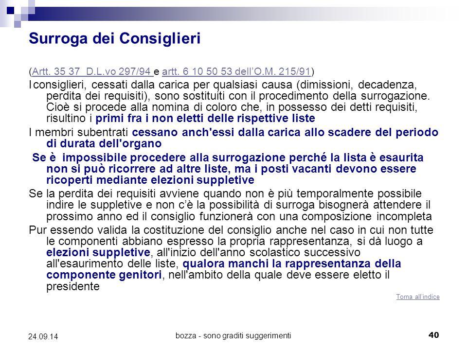 bozza - sono graditi suggerimenti40 24.09.14 Surroga dei Consiglieri (Artt. 35 37 D.L.vo 297/94 e artt. 6 10 50 53 dell'O.M. 215/91)Artt. 35 37 D.L.vo