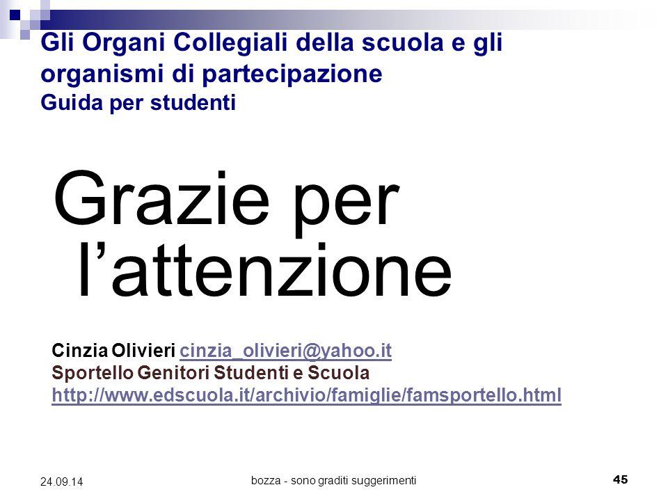 bozza - sono graditi suggerimenti45 24.09.14 Gli Organi Collegiali della scuola e gli organismi di partecipazione Guida per studenti Grazie per l'atte