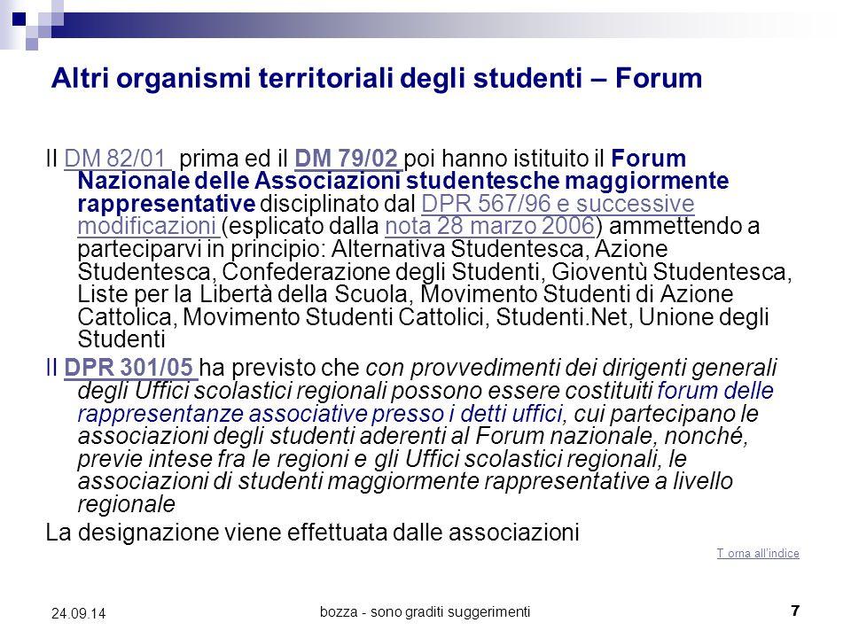 bozza - sono graditi suggerimenti7 24.09.14 Altri organismi territoriali degli studenti – Forum Il DM 82/01 prima ed il DM 79/02 poi hanno istituito i