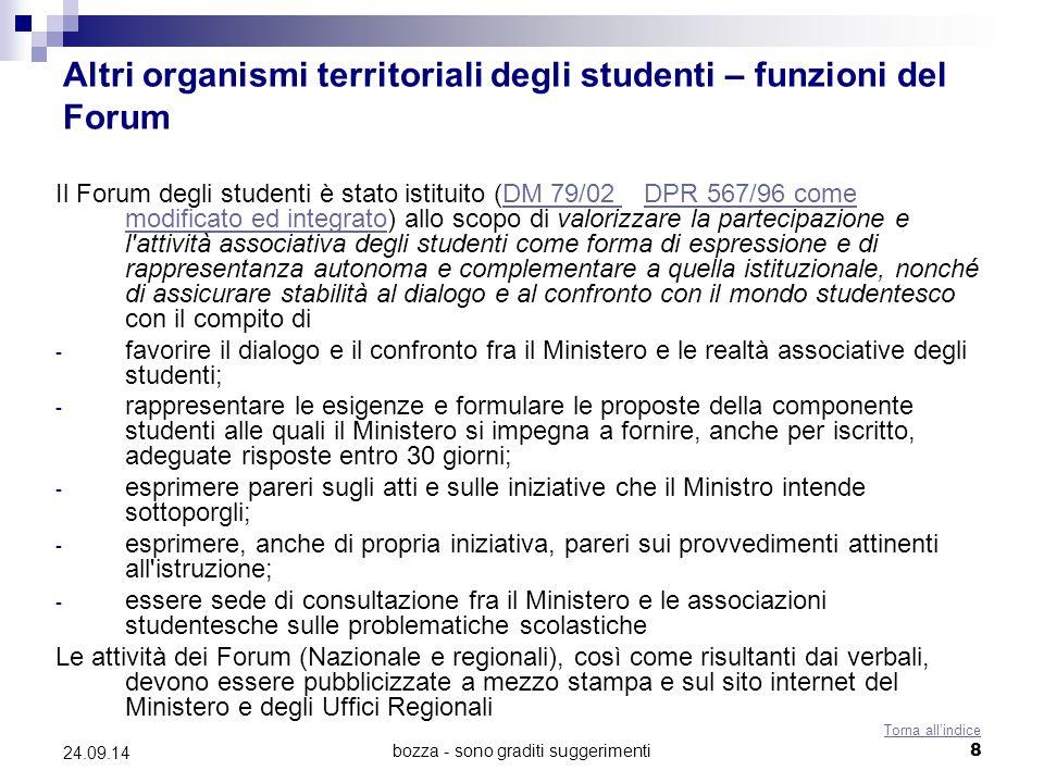 bozza - sono graditi suggerimenti8 24.09.14 Altri organismi territoriali degli studenti – funzioni del Forum Il Forum degli studenti è stato istituito