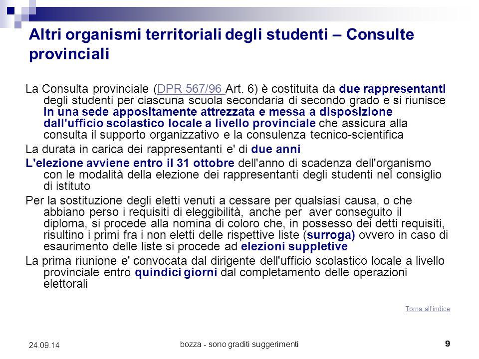 bozza - sono graditi suggerimenti9 24.09.14 Altri organismi territoriali degli studenti – Consulte provinciali La Consulta provinciale (DPR 567/96 Art