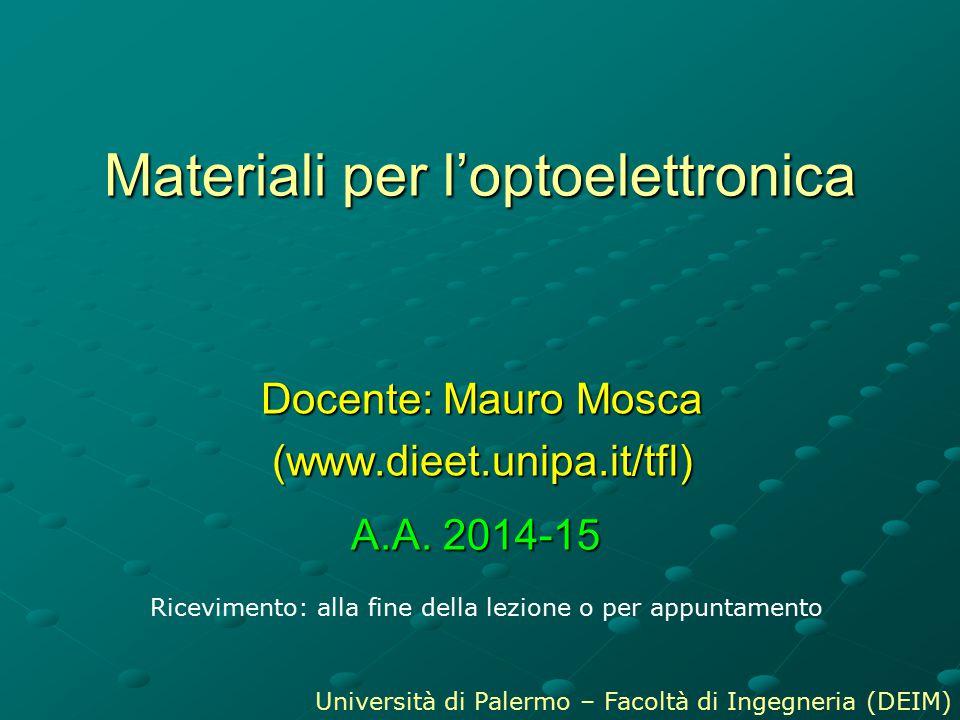Materiali per l'optoelettronica Docente: Mauro Mosca (www.dieet.unipa.it/tfl) Ricevimento: alla fine della lezione o per appuntamento Università di Pa