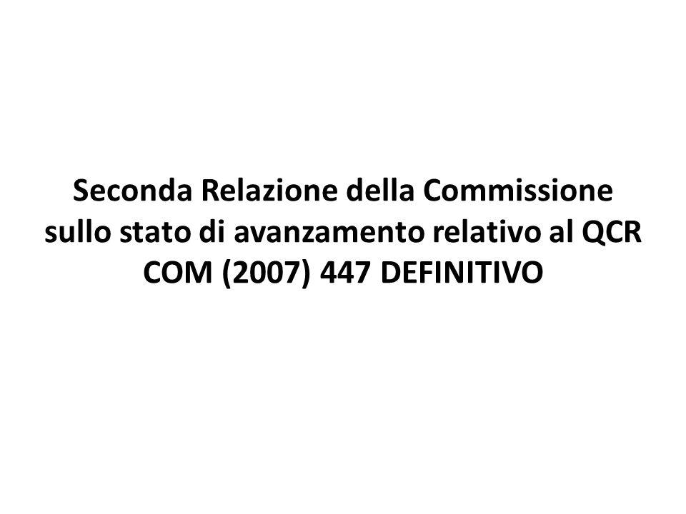 Seconda Relazione della Commissione sullo stato di avanzamento relativo al QCR COM (2007) 447 DEFINITIVO