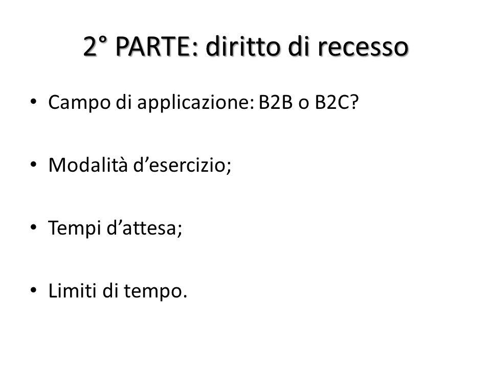 2° PARTE: diritto di recesso Campo di applicazione: B2B o B2C.