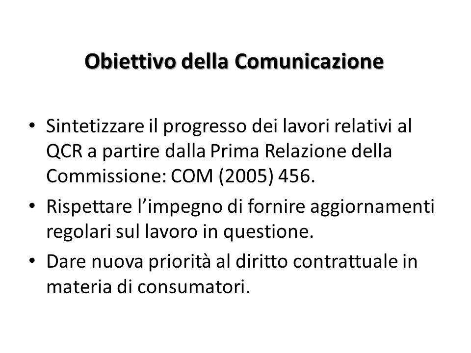 Obiettivo della Comunicazione Sintetizzare il progresso dei lavori relativi al QCR a partire dalla Prima Relazione della Commissione: COM (2005) 456.