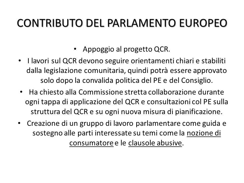CONTRIBUTO DEL PARLAMENTO EUROPEO Appoggio al progetto QCR.