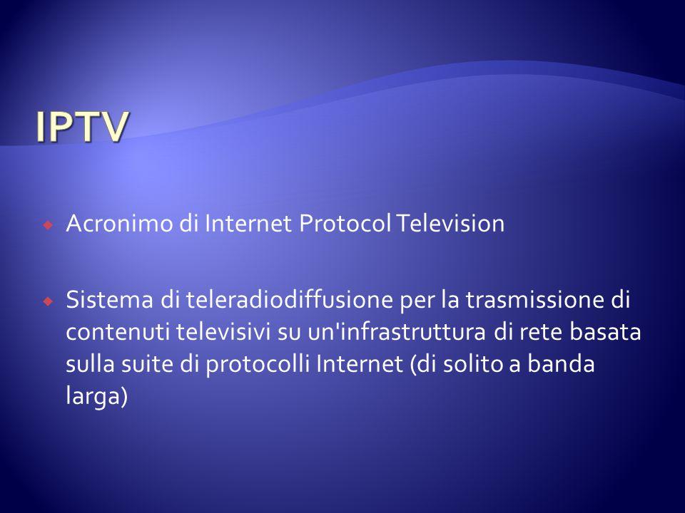  Acronimo di Internet Protocol Television  Sistema di teleradiodiffusione per la trasmissione di contenuti televisivi su un'infrastruttura di rete b