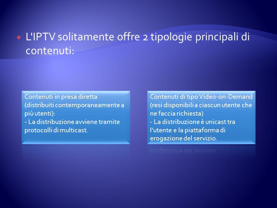  L'IPTV solitamente offre 2 tipologie principali di contenuti: