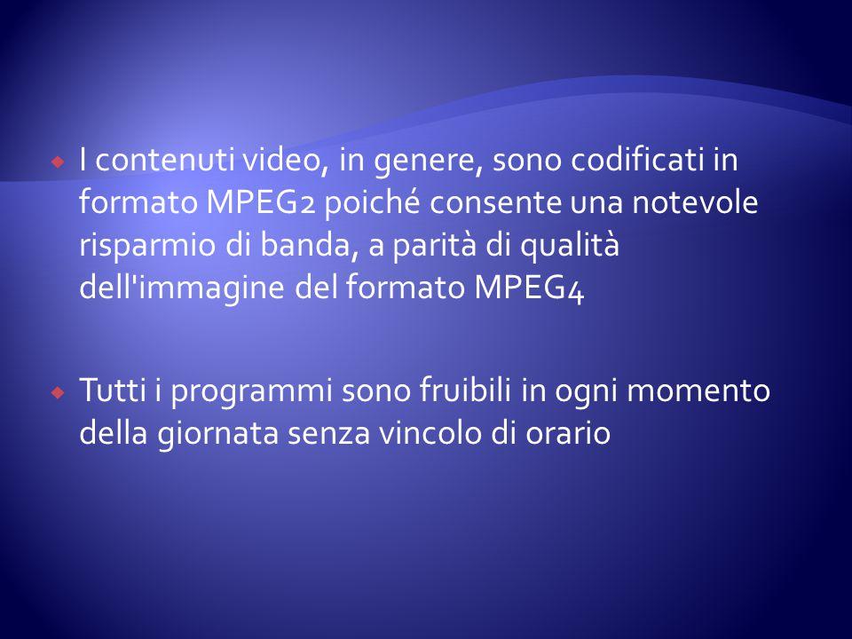  I contenuti video, in genere, sono codificati in formato MPEG2 poiché consente una notevole risparmio di banda, a parità di qualità dell'immagine de