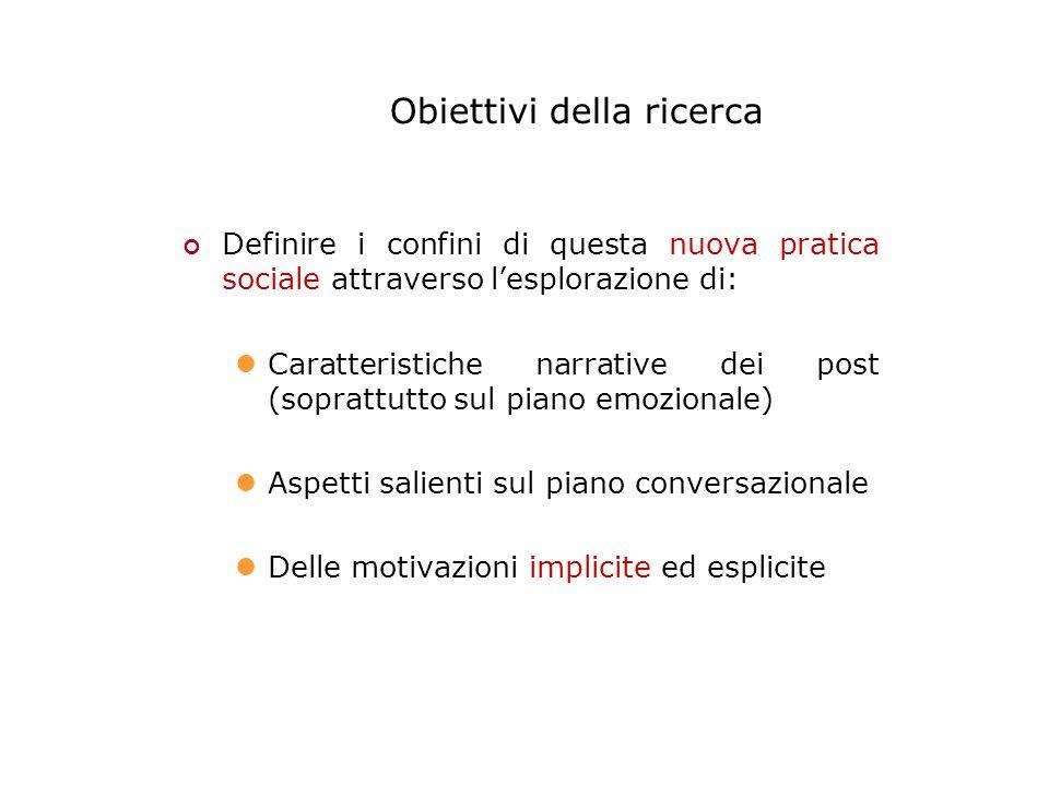 Obiettivi della ricerca Definire i confini di questa nuova pratica sociale attraverso l'esplorazione di: Caratteristiche narrative dei post (soprattutto sul piano emozionale) Aspetti salienti sul piano conversazionale Delle motivazioni implicite ed esplicite