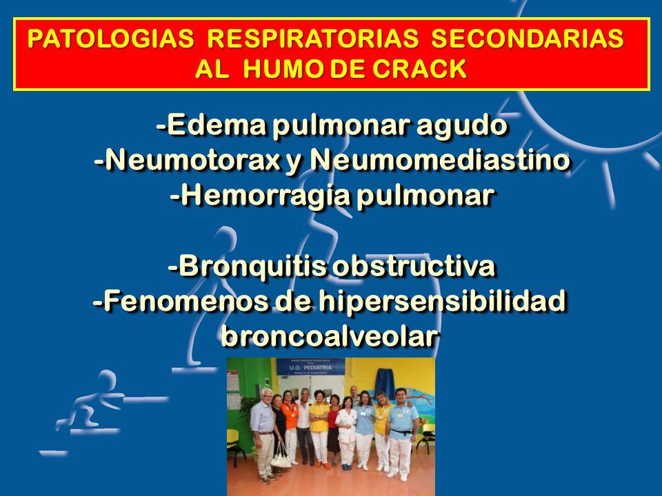 PATOLOGIAS RESPIRATORIAS SECONDARIAS AL HUMO DE CRACK -Edema pulmonar agudo -Neumotorax y Neumomediastino -Hemorragia pulmonar -Bronquitis obstructiva -Fenomenos de hipersensibilidad broncoalveolar -Edema pulmonar agudo -Neumotorax y Neumomediastino -Hemorragia pulmonar -Bronquitis obstructiva -Fenomenos de hipersensibilidad broncoalveolar