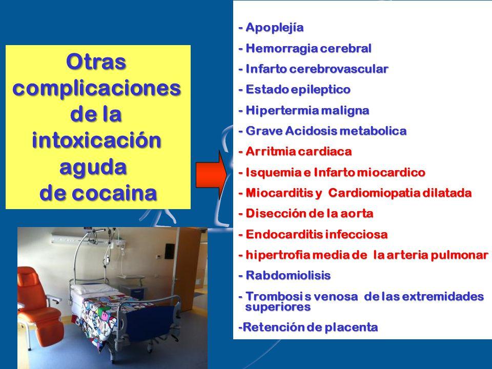 Otrascomplicaciones de la intoxicaciónaguda de cocaina - Apoplejía - Hemorragia cerebral - Infarto cerebrovascular - Estado epileptico - Hipertermia maligna - Grave Acidosis metabolica - Arritmia cardiaca - Isquemia e Infarto miocardico - Miocarditis y Cardiomiopatia dilatada - Disección de la aorta - Endocarditis infecciosa - hipertrofia media de la arteria pulmonar - Rabdomiolisis - Trombosi s venosa de las extremidades superiores superiores -Retención de placenta