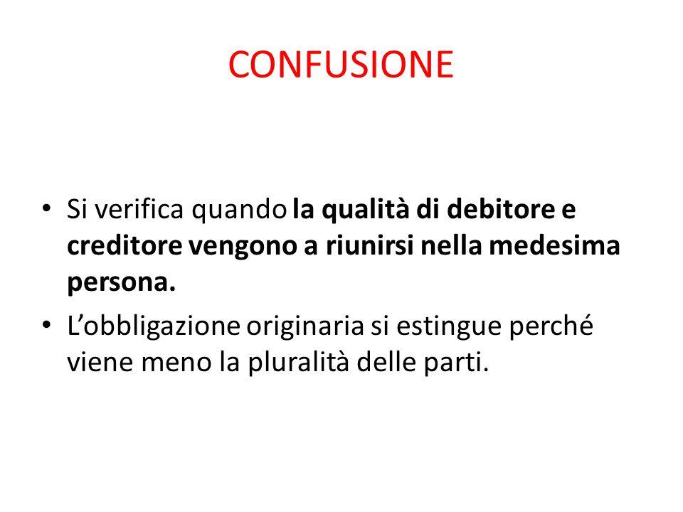 CONFUSIONE Si verifica quando la qualità di debitore e creditore vengono a riunirsi nella medesima persona. L'obbligazione originaria si estingue perc