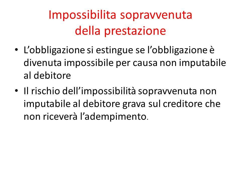 Impossibilita sopravvenuta della prestazione L'obbligazione si estingue se l'obbligazione è divenuta impossibile per causa non imputabile al debitore